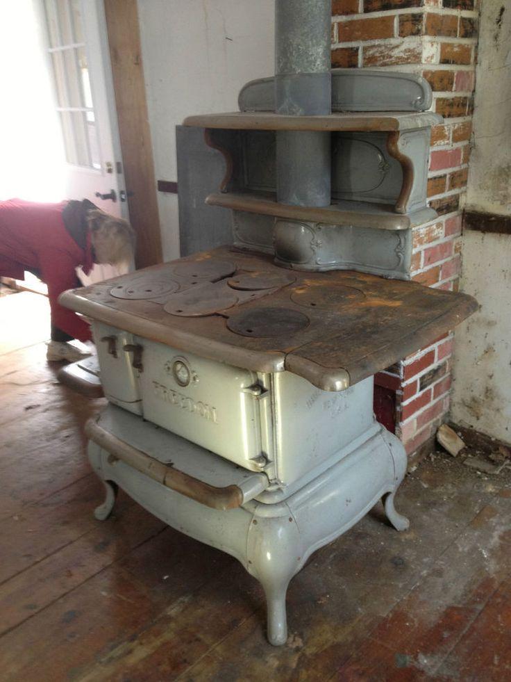 Grey Porcelain Antique Kitchen Wood Coal Cast Iron Stove