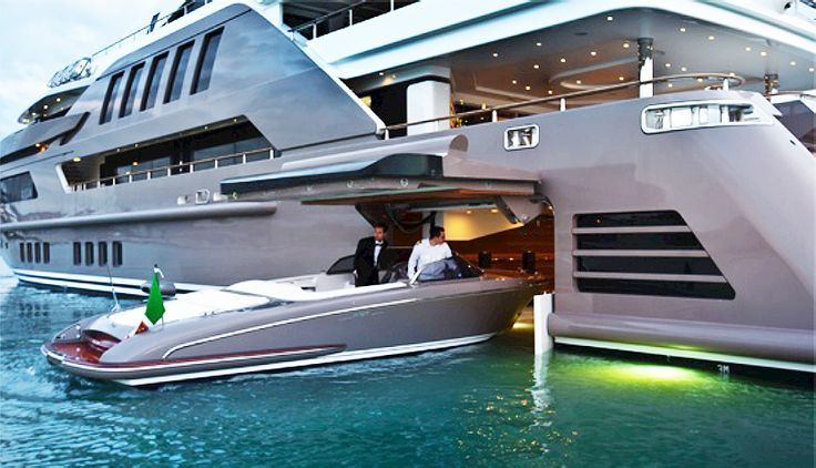 The CRN J'ade features the highly innovative flooded garage, where the owner can store and easily access smaller yachts without the need for a tender lift.