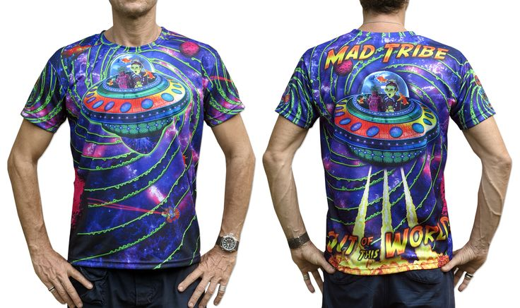 "Sublime S/S T : Out of this World Fully printed short sleeve T shirt. This shirt is an ""All Over"" printed T shirt that will really grab people's attention. The design is printed using sublimation printing on a high quality polyester / Dri-Fit blended shirt. This allows for extremely vibrant colors that will never fade away no matter how many times it gets washed, & results in an extremely soft ""feel"" to the shirt, providing ultimate comfort. Artwork by Mad Tribe"