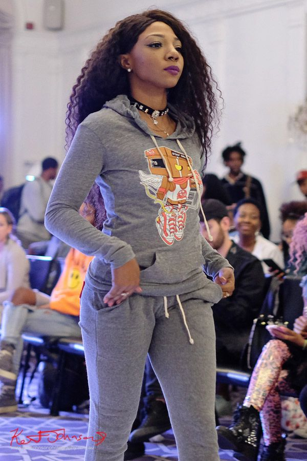 Grey marl hoodie and pants, Streetwear Label Solemates Apparel at Bracé NYFW. Photographed by Kent Johnson.
