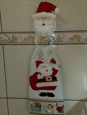 Suporte Papai Noel em Feltro + guardanapo em tecido estilotex 50x68, em patchaplique.