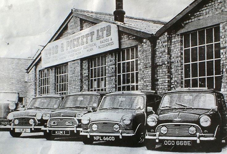 In the 1960s Wood & Pickett Ltd claimed to produce the world's most expensive Mini's. This picture includes Mick Jagger's car (OGO 668E) and two Austin-Coopers (NLP 660D and KUM 1) for actor Laurence Harvey and His Highness Temenggog Mohamed Bolkiah of Brunei. KUM 1 features square headlights, the royal crest on the bonnet and an initialled gearlever made from solid gold.