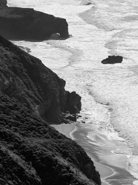 The surf at Big Sur, California, shimmers in the late afternoon sun.