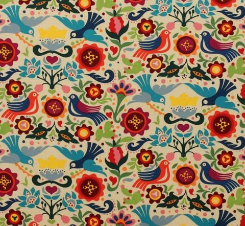 La Paloma Mexican Fabric | Birds | Floral | Folklorico | Traditional Mexican Folk Art Material | Dove of Peace and Love
