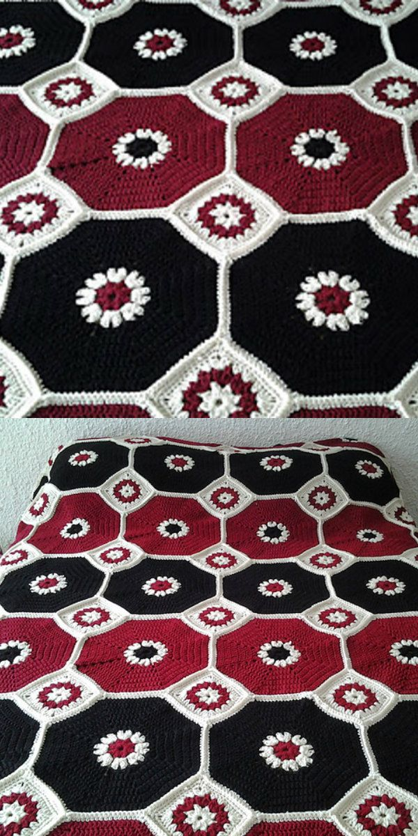 Octagons Blanket Free Crochet Pattern