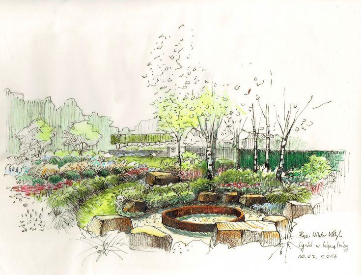 Garden in szczecin ogr d w szczecinie wiktor k yk for Garden design sketches