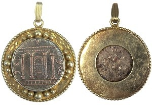 "Silver coin of the Temple of Jerusalem mounted in a modern vermeil pendant setting in a 22kt gold plate finish over pure silver, on the reverse an ornament and inscriptions.  134-135 AD (1 ½"")."