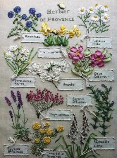 I like the colors and types of flowers used here (even though these are embroidered and not real flowers).
