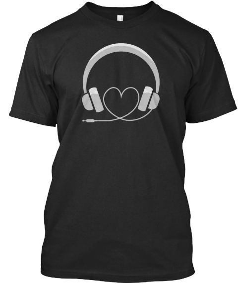 Headphone T Shirt  Cool Music Shirts  Black T-Shirt Front