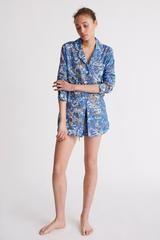 Riccardo Print Short Luxury Cotton Womens Pyjama Set - Blue Multi