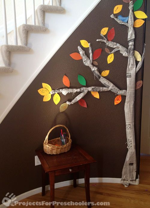 Make a Thankful Tree from newspaper! lovely idea!! #21DaysGratitude <<could also use brown paper
