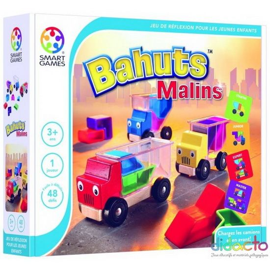 Jeu de logique ludique en 3D. Après une phase de jeu libre avec le matériel, les enfants vont commencer les défis. Il s'agit de faire entrer les pièces indiquées sur le modèle dans un camion, puis 2, puis 3, sans que le chargement dépasse. L'ensemble est très attractif!Contenu: 3 camions en bois avec une benne translucide (L 10 - 12 cm), 10 pièces colorées en plastique de formes différentes, 1 livret avec 48 défis et solutions.