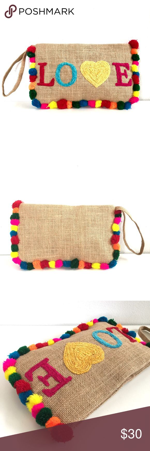 "Moyna Boho Bright Pom Pom Love Clutch Wristlet Sweet Moyna clutch bag. Bright multicolored pom poms and LOVE embroidery. This line is carried at Anthro and ASOS. New with tags. Apx 11"" x 6 1/2"" Anthropologie Bags Clutches & Wristlets"
