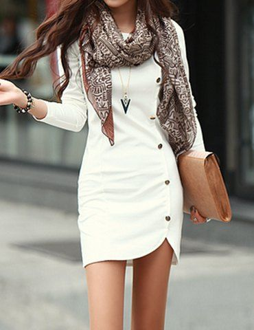 $8.41 Trendy Buttons Design Long Sleeve Round Collar Solid Color Pullover Dress For Women