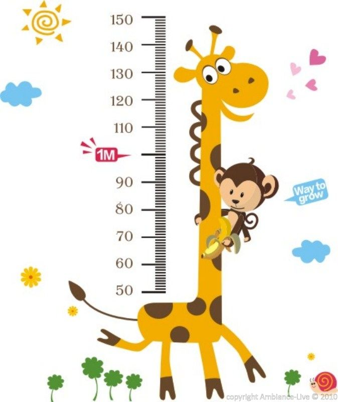Sticker toise girafe et singe - Stickers enfants | Ambiance-sticker.com
