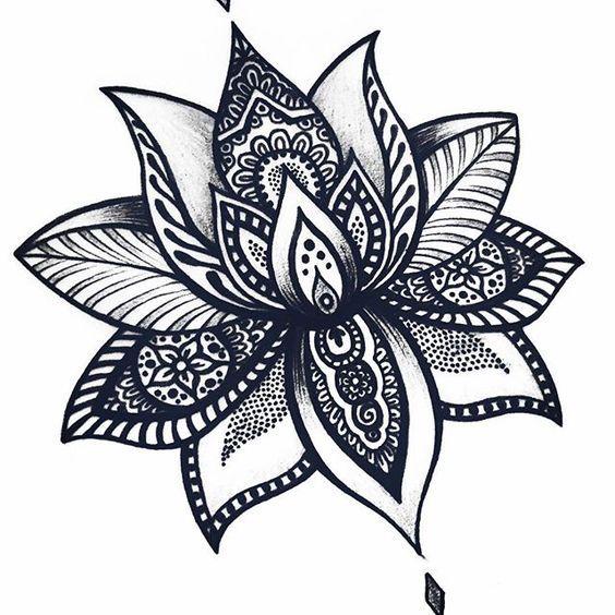 Flor de Lótus #mandala #mandalas #mandalatattoo #lotusflower #lotusflowertattoo…