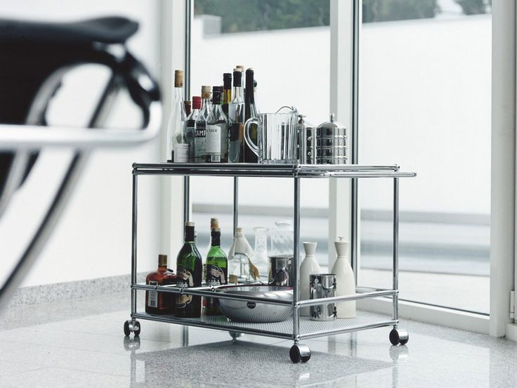 USM Haller serving cart with handle and castors. www.usm.com
