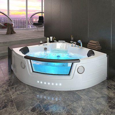 whirlpool eckbadewanne badewanne wanne 2 personen heizung pool fenster 140x140cm