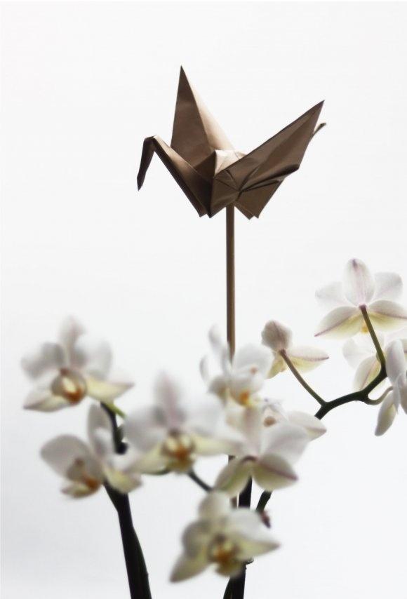 paper crane flower decoration