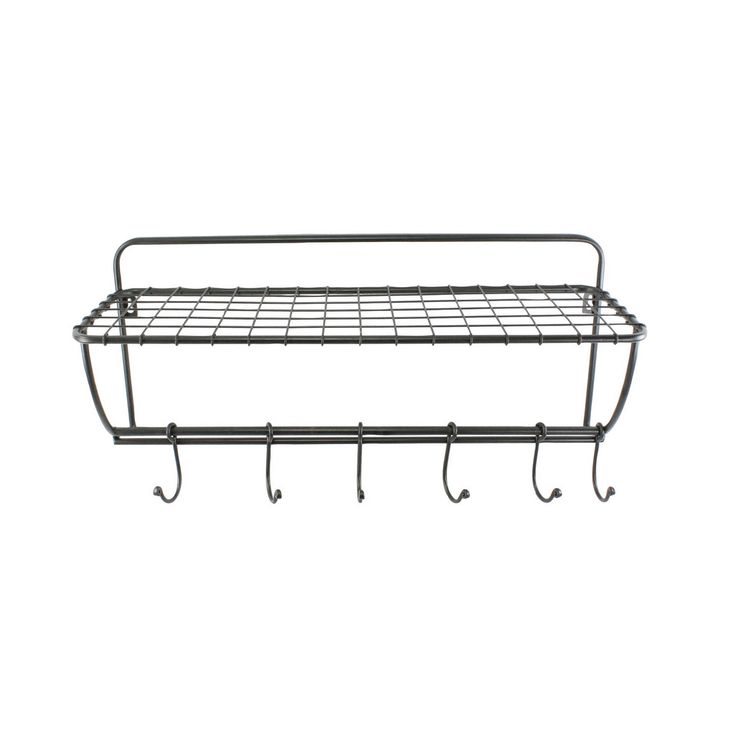 This metal rack is perfect for organizing your bathroom accessories.  Featuring movable hooks for bathrobes and towels as well as a convenient shelf for holding other essentials, you can hang it somewh...  Find the Metal Bathroom Rack, as seen in the Refined Farmhouse Bath Collection at http://dotandbo.com/collections/refined-farmhouse-bath?utm_source=pinterest&utm_medium=organic&db_sku=HMA0078