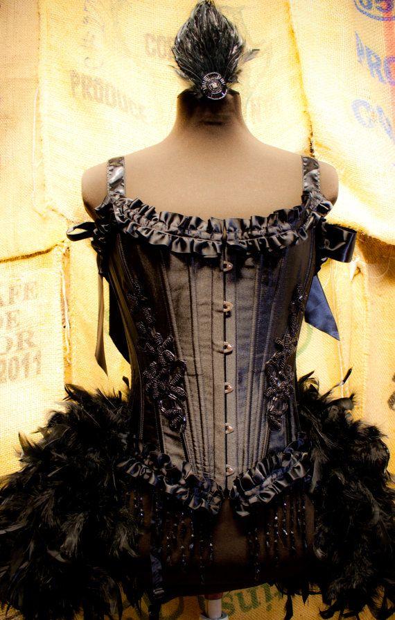TWILIGHT- Burlesque Costume Corset Black Swan dress for Halloween