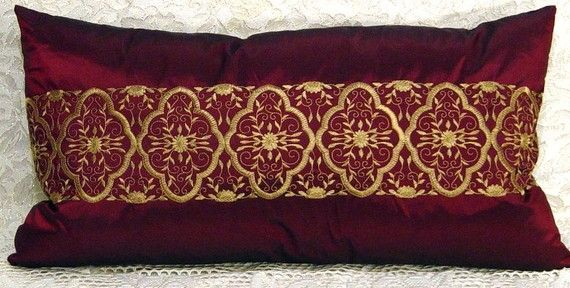 Decorative Throw Pillow COVER deep Burbundy and Gold embroidery lumbar style RicH by Cabin Cove ...