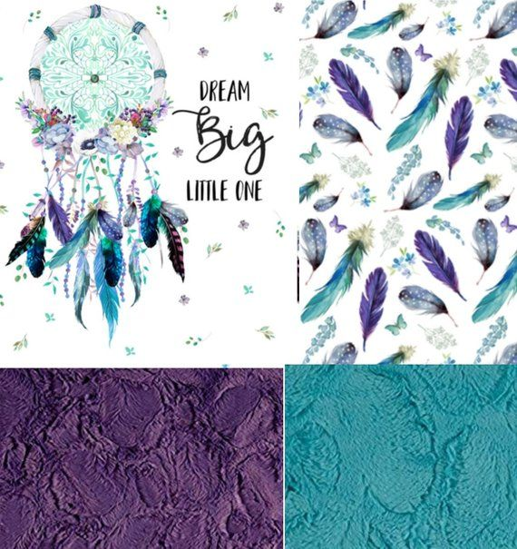 Dream Big Little One Dreamcatcher Nursery Bedding Set Purple And Teal Minky Blanket Crib Shee Dream Catcher Nursery Purple Crib Bedding Changing Pad Cover