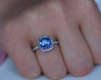 Royal Blue Saphir Ring. Quadratische von EidelPrecious auf Etsy