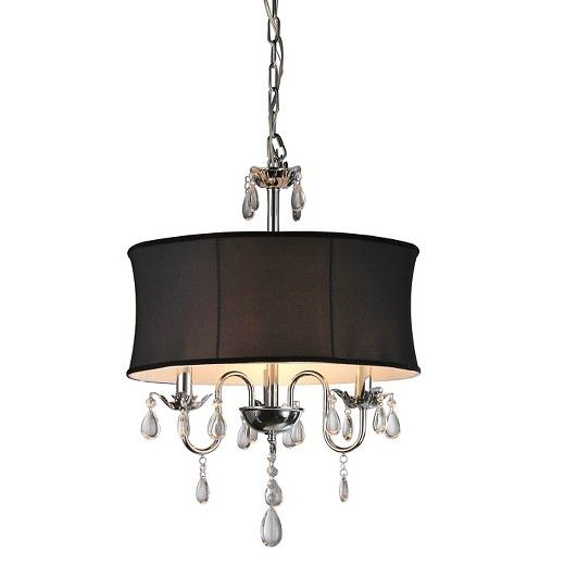 "Bring dramatic elegance into your home with this Warehouse Of Tiffany Ceiling Light - Black (20 X 20 X 10""). Dripping with sparkling teardrop-shaped crystals and finished with a black matte shade, this light is sure to command attention. Suspended from a chain, this chandelier has shiny silver metal construction for extra polish. Hang this ceiling-mount light fixture above your dining table or in your entryway area to showcase its sophistication."
