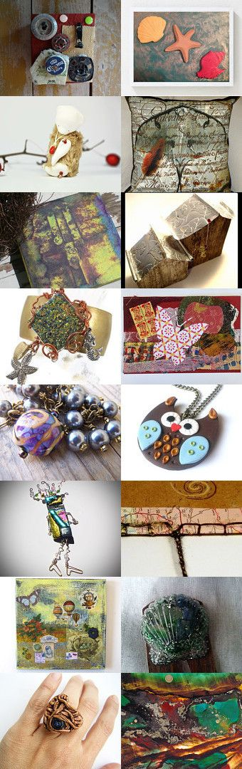 Mixed Media Monday #21 - an etsy.com treasury curated by Carla Bange of Carla's Craft