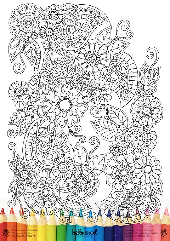 * Floral y Paisley jardín * Una intrincada y super duper detallada ilustración. Mano dibujada por mí mismo, coloreado por usted! Comprar • imprimir • colorearlo! • Art Journal del marco se • regalo lo Compra hoy, salir de tus lápices/plumas/marcadores/acuarelas hoy, NO la espera para la POSTIE! La descarga comprada contiene 1 x A4(210x297mm) jpeg tamaño archivo a 300dpi de alta resolución de impresión solamente. Los lápices de colores en la parte inferior de la imagen de l...