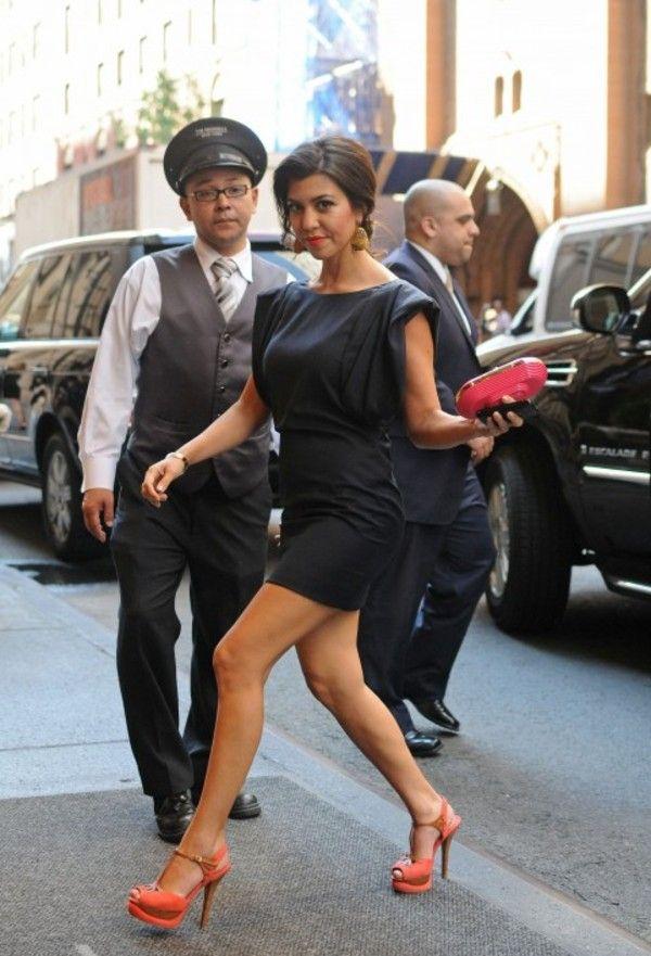 Get this look on @Emilio Sciarrino Foster or see more #shoes #orange_shoes #kourtney_kardashian #little_black_dress #high_heels #dress