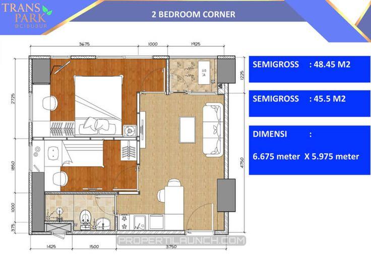 Denah 2 bedroom Corner apartment Trans Park Cibubur