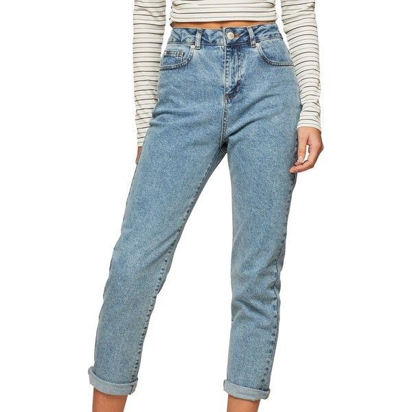 Miss Selfridge Petite Mom Jeans ($50) ❤ liked on Polyvore featuring jeans, petite, destroyed jeans, blue jeans, blue distressed jeans, distressed jeans and high waisted ripped jeans