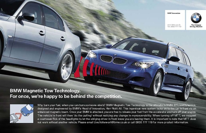 Picture of April Fools day advert - Magnetic Tow Technology