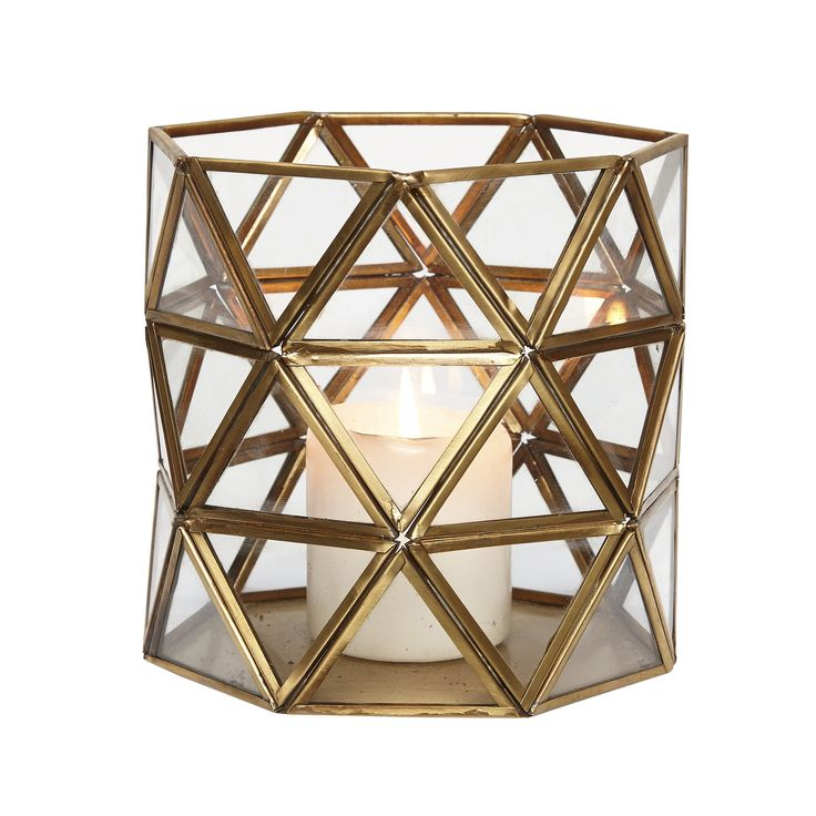 Glass and brass lantern with triangles. Product number: 408013 - Designed by Hübsch