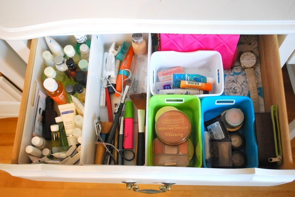 line and organize makeup drawer