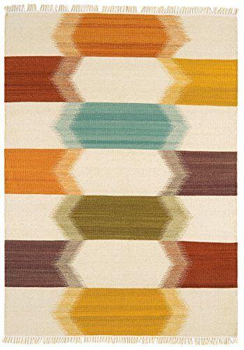 Teppich Wohnzimmer Carpet Kurzflor Orientalisches Design KELIM RUG 80 Wolle 20 JUTE 160x230 Cm