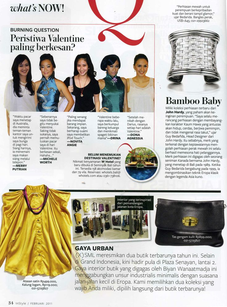 (X)S.M.L Plaza Senayan store is appeared on What's Now rubric Instyle Indonesia - February 2011