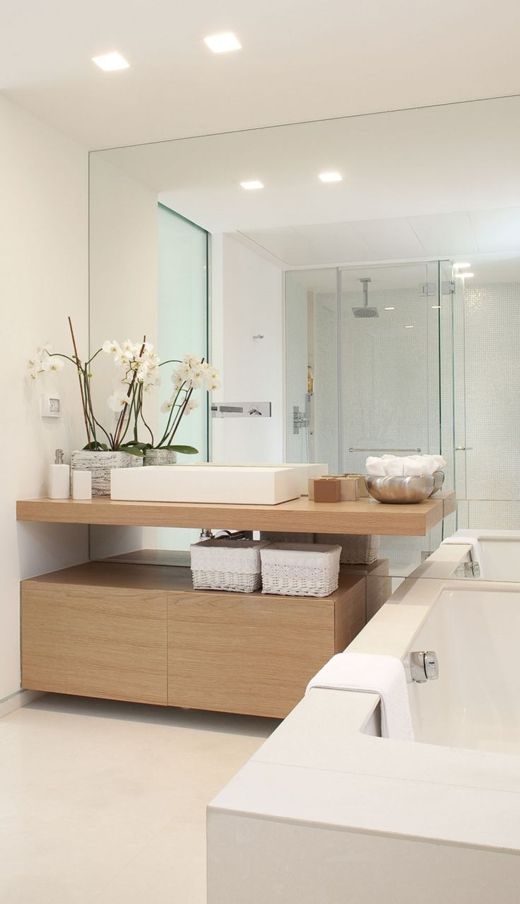 Modern bathroom in neutral and white with sunken tub.