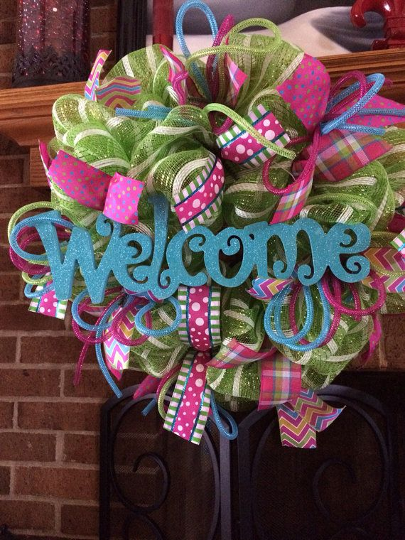 Blue welcome spring deco mesh wreath by ShelbyColemanCrafts, $70.00