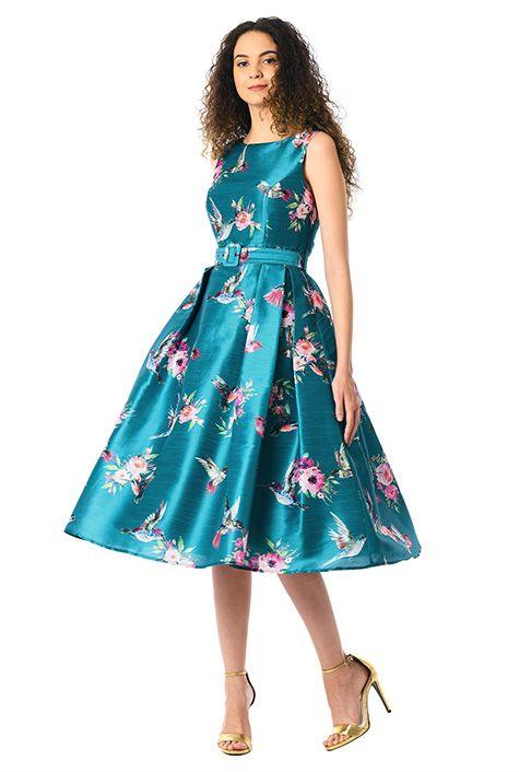 5cdcf7cf7cd I <3 this Floral bird print dupioni belted dress from eShakti   Roslyn  stone style   Dresses, Belted dress, Dress skirt