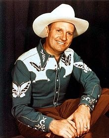 Gene Autry - Born in Tioga, Texas. American performer who gained fame as a singing cowboy on the radio, in movies, and on television for more than three decades beginning in the early 1930s. From 1934 to 1959, Autry appeared in 94 films and 91 episodes of The Gene Autry Show television series.