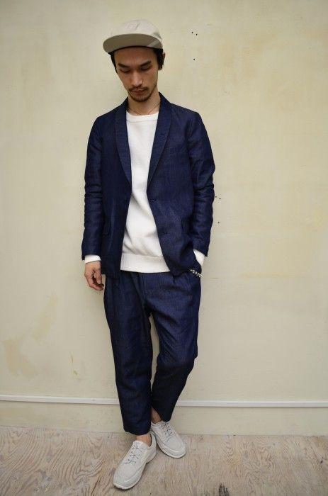 "bukht ""denim shawl collar jaket & denim 2tuck trousers"""