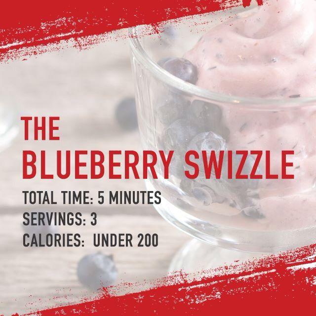 The Blueberry Swizzle from Dr. Ian Smith's Super Shred Diet.  2 cups of fresh or frozen blueberries 6 ounces fat-free plain vanilla yogurt 1/2 cup apple juice (not from concentrate) 1 medium ripe banana, peeled and sliced 8 ice cubes 2 teaspoons honey  Combine all ingredients in a blender and purée until smooth. This recipe makes multiple servings, drink only one at a time.