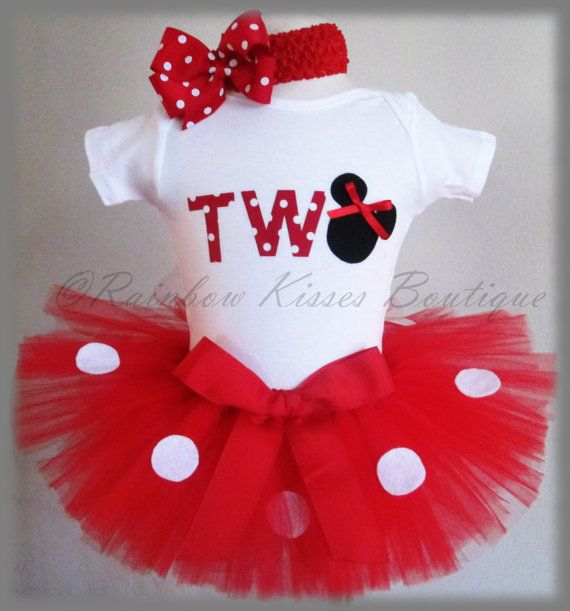 2nd Minnie Mouse Birthday Outfit, Minnie Outfit, Minnie Mouse Tutu, 2nd Birthday Outfit on Etsy, $40.00