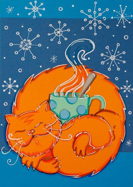 Pikczer For Ticzer carton, cat, dekoracja, door, kot, kubek, lazy cat, mug, na drzwi, papercut, rudy, snow, śnieg, tea, winter, wycinanka, zima