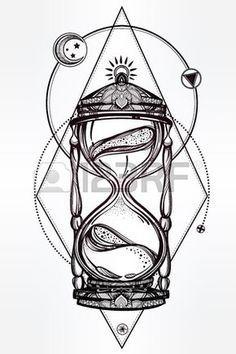 Tir par la main romantique beau dessin d un sablier Vector illustration isol Conception de tatouage Banque d'images