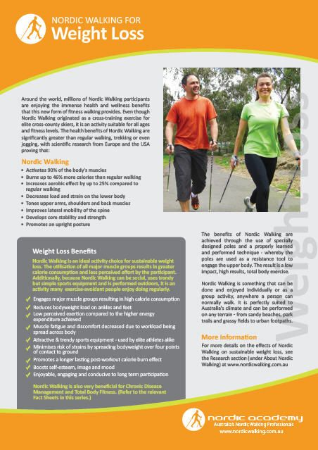 Nordic Walking Fact Sheet on Weight Loss  www.nordicacademy.com.au