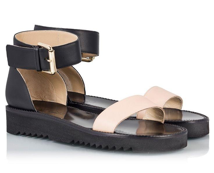 Vicini Black & nude vacchetta leather Ankle-cuff flatform sandals | Fratelli Karida Shoes